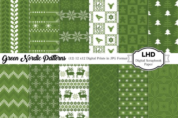 Green Nordic Patterns Graphic Patterns By LeskaHamatyDesign