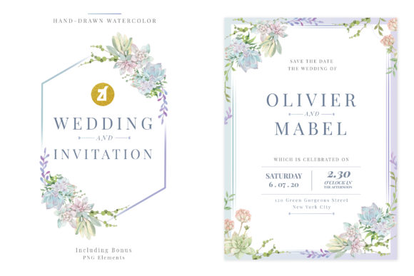 Green Succulent Wedding Invitation Graphic Print Templates By Chanut is industries