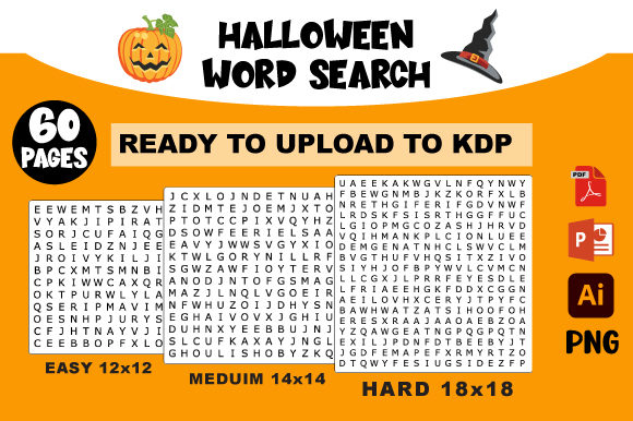 Print on Demand: Halloween Word Search Ready to Upload Graphic KDP Interiors By AZ DESIGNS