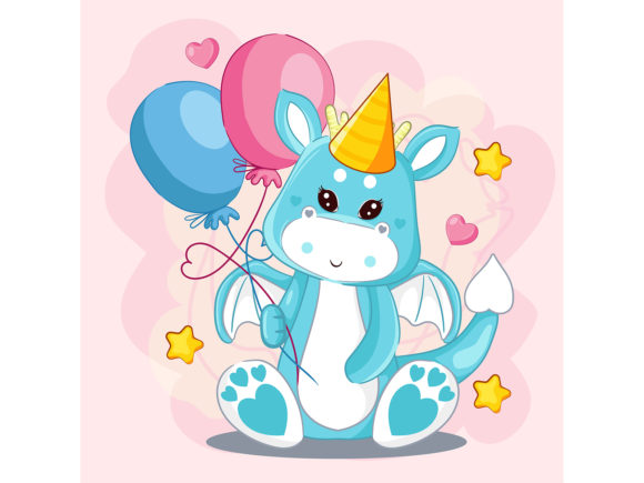 Hand Drawn Cute Dragon and Balloons Graphic Illustrations By maniacvector