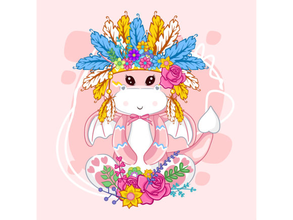 Hand Drawn Cute Dragon and Feathers Graphic Illustrations By maniacvector