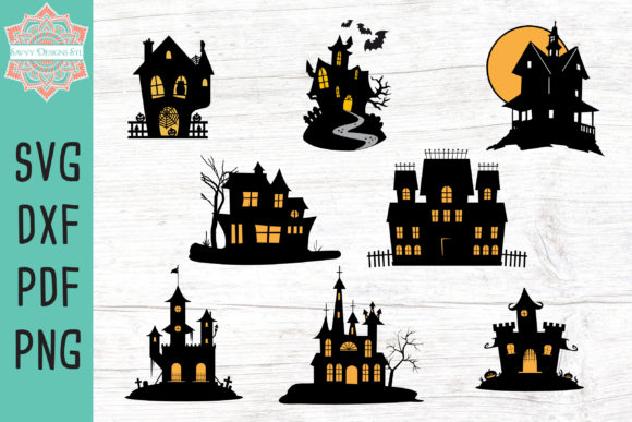 Haunted House Cut File Bundle Graphic Crafts By savvydesignsstl