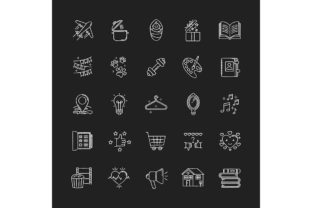 Print on Demand: Healthy Lifestyle Chalk White Icons Set Graphic Icons By bsd studio
