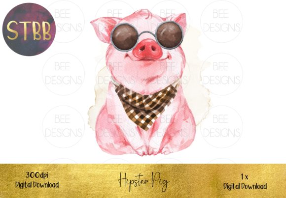 Hipster Pig Sublimation Design Graphic Illustrations By STBB