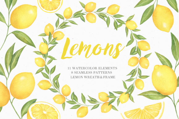 Lemon Watercolor Collection Graphic Illustrations By kristinazukova430