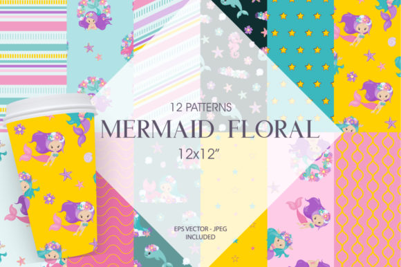 Print on Demand: Mermaid Floral Graphic Patterns By Prettygrafik