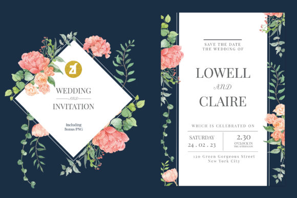 Mix Flower Vol.04 Wedding Invitation Graphic Print Templates By Chanut is industries
