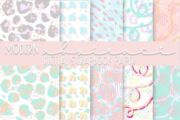 Print on Demand: Modern Abstract Digital Paper | Volume 1 Graphic Backgrounds By Fairways and Chalkboards
