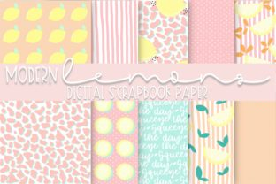Print on Demand: Modern Lemons Digital Paper Graphic Backgrounds By Fairways and Chalkboards