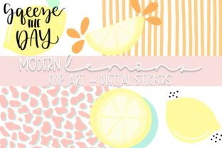 Print on Demand: Modern Lemons Doodle Clip Art Graphic Illustrations By Fairways and Chalkboards