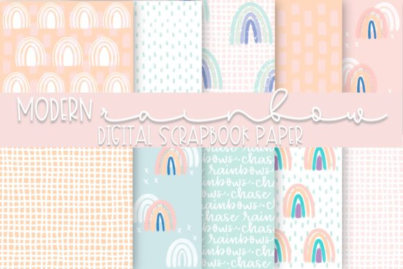Print on Demand: Modern Rainbows Digital Paper Graphic Backgrounds By Fairways and Chalkboards