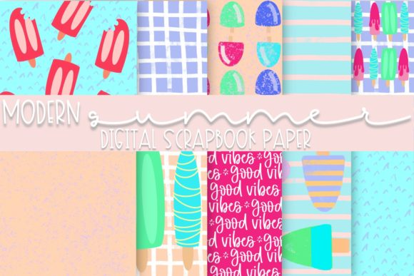 Modern Summer Digital Paper Graphic Backgrounds By Fairways and Chalkboards