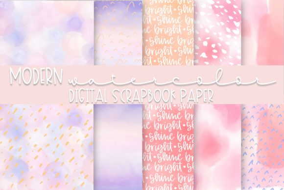Modern Watercolor Digital Paper Graphic Backgrounds By Fairways and Chalkboards