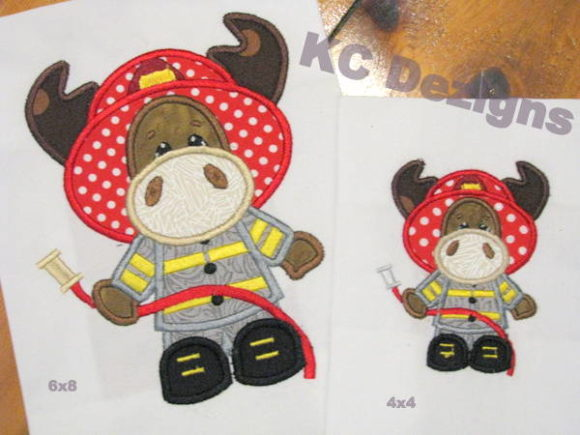 Moose Fireman Boys & Girls Embroidery Design By karen50