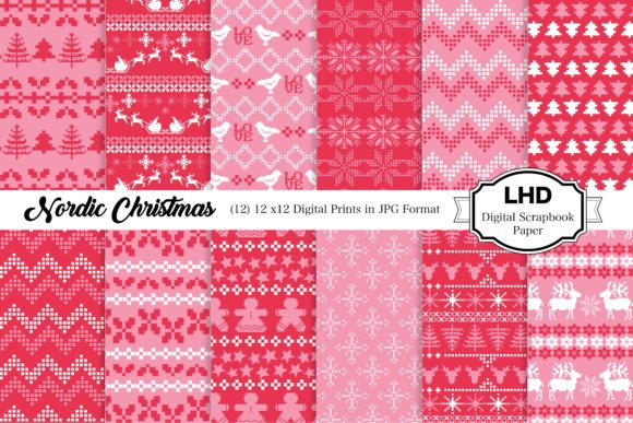 Nordic Christmas Digital Papers Graphic Patterns By LeskaHamatyDesign