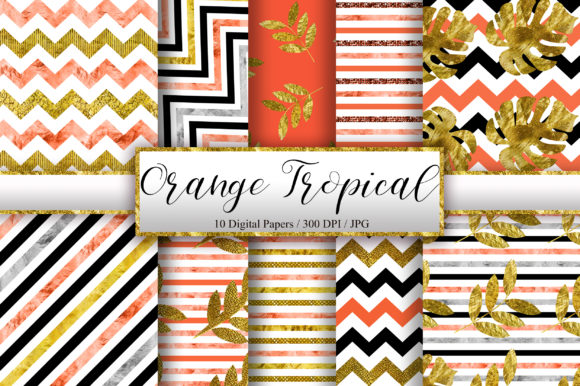 Orange Tropical Glitter Digital Papers Graphic Backgrounds By PinkPearly