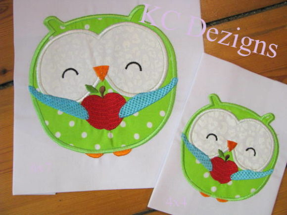 Owl Holding Apple Back to School Embroidery Design By karen50