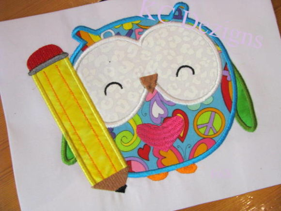 Owl with Pencil Back to School Embroidery Design By karen50