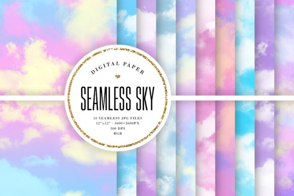 Print on Demand: Pastel Sky Seamless Backgrounds Grafik Hintegründe von Sabina Leja