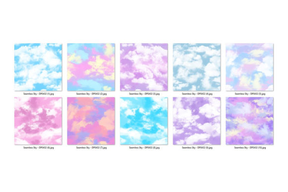 Pastel Sky Seamless Backgrounds Graphic Download