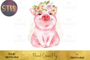 Pig with Floral Crown Sublimation Design Graphic Illustrations By STBB