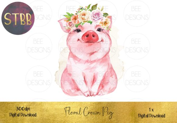 Pig with Floral Crown Sublimation Design Grafik Illustrationen von STBB
