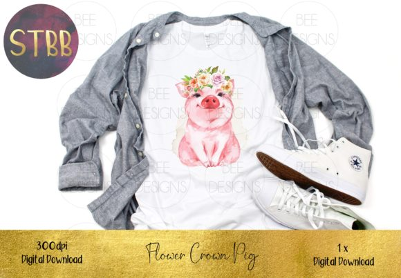 Pig with Floral Crown Sublimation Design Download