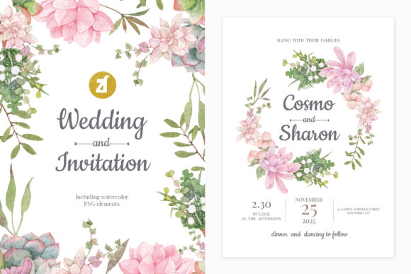 Pink Succulent Wedding Invitation Graphic Print Templates By Chanut is watercolor