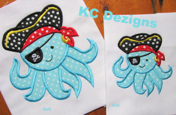 Pirate Octopus Piraten Stickdesign von karen50