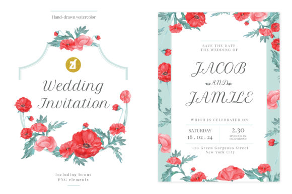 Poppy Wedding Invitation Graphic Graphic Print Templates By Chanut is watercolor