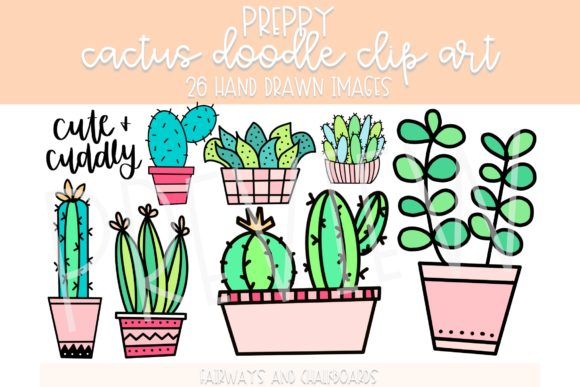 Print on Demand: Preppy Cactus Doodle Clip Art Graphic Illustrations By Fairways and Chalkboards