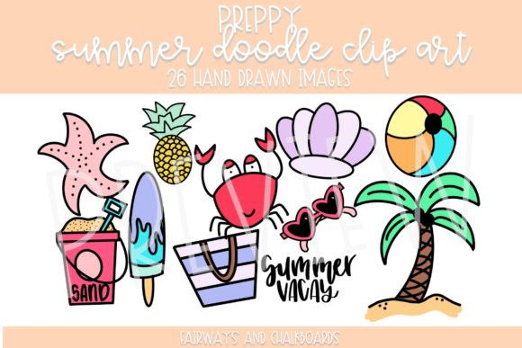 Print on Demand: Preppy Summer Doodle ClipArt Graphic Illustrations By Fairways and Chalkboards