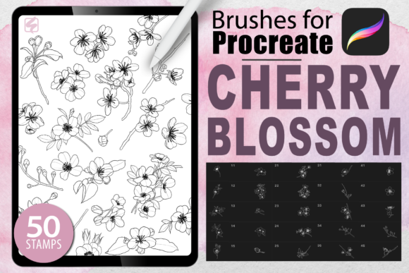 Procreate - Cherry Blossom Stamps Graphic Brushes By dibrush