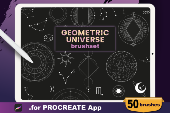 Procreate - Geometric Universe Stamps Graphic Brushes By dibrush