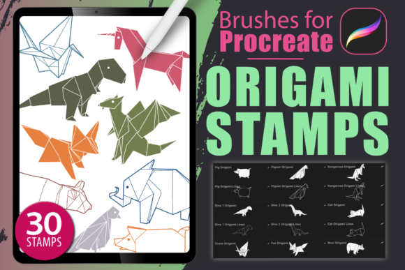 Procreate - Origami Stamps Graphic Brushes By dibrush
