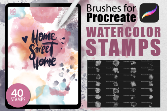 Procreate - Watercolor Stamps Graphic Brushes By dibrush