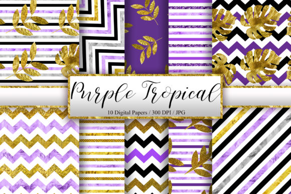 Purple Tropical Glitter Digital Papers Graphic Backgrounds By PinkPearly