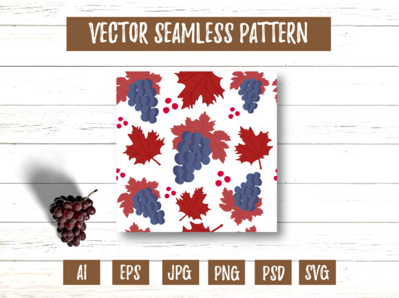 Red Maple Leaves Grape Seamless Pattern Graphic Patterns By cyrilliclettering