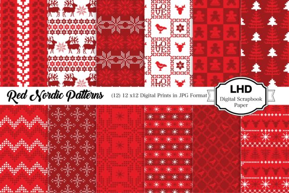 Red Nordic Patterns - Digital Paper Graphic Patterns By LeskaHamatyDesign