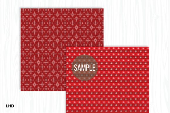 Red Nordic Patterns - Digital Paper Graphic Patterns By LeskaHamatyDesign - Image 3