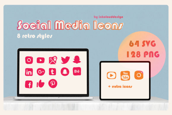 Print on Demand: Retro Vintage Social Media Icons Graphic Icons By Inkclouddesign