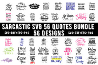 Print on Demand: Sarcastic 56 Quotes Bundle Graphic Print Templates By Design_store