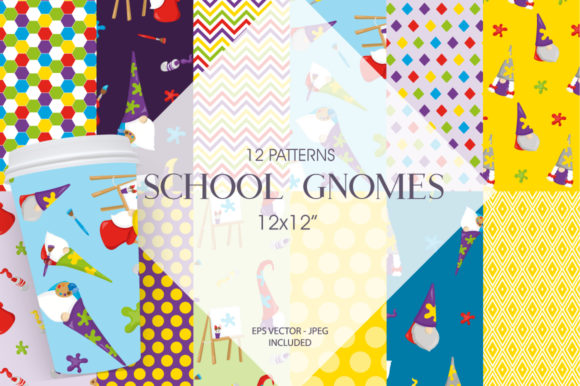 Print on Demand: School Gnomes Graphic Patterns By Prettygrafik