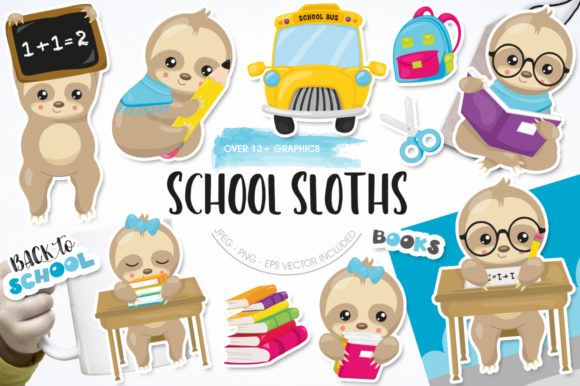 Print on Demand: School Sloths Graphic Graphic Templates By Prettygrafik