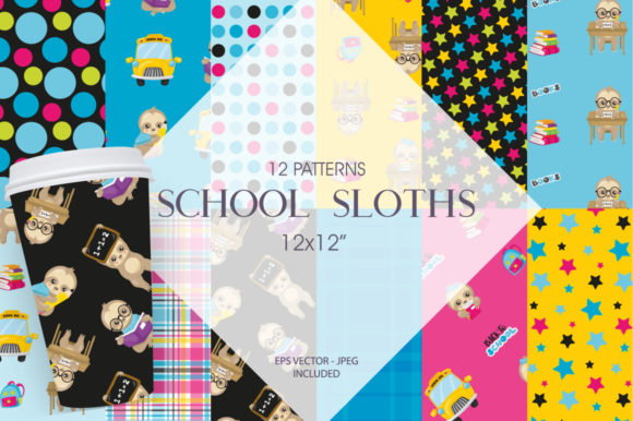Print on Demand: School Sloths Graphic Patterns By Prettygrafik - Image 1