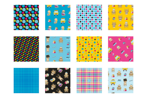 Print on Demand: School Sloths Graphic Patterns By Prettygrafik - Image 2