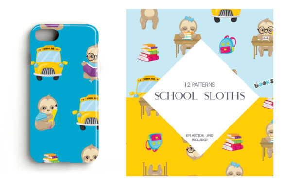 Print on Demand: School Sloths Graphic Patterns By Prettygrafik - Image 4