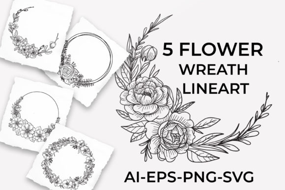 Print on Demand: Set of Floral Wreath Line Art Graphic Illustrations By OrchidArt