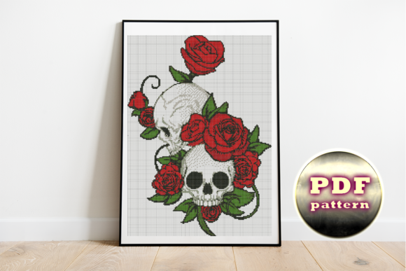Skull and Roses Cross Stitch Pattern  Graphic