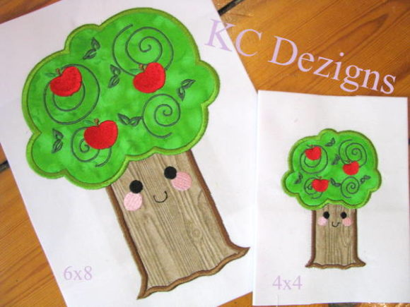 Smiley Apple Tree Back to School Embroidery Design By karen50